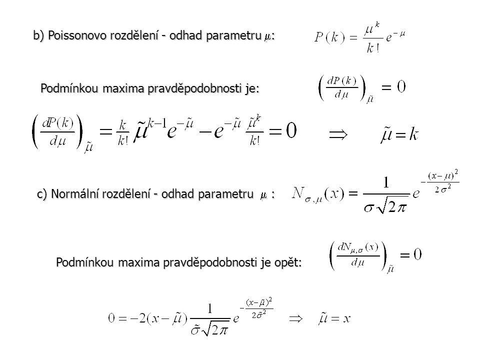 b) Poissonovo rozdělení - odhad parametru  : Podmínkou maxima pravděpodobnosti je: c) Normální rozdělení - odhad parametru  : Podmínkou maxima pravd