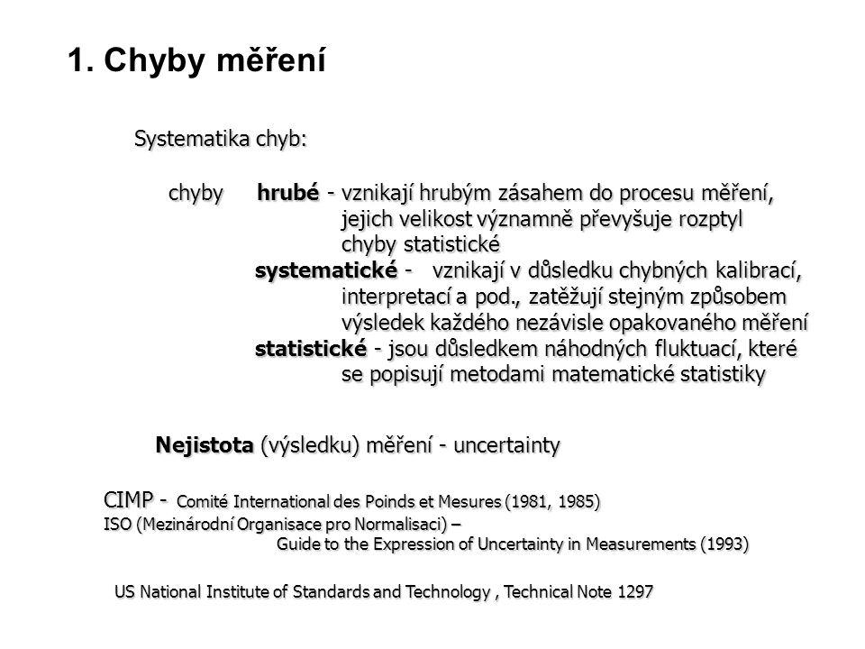 1. Chyby měření Systematika chyb: chyby hrubé -vznikají hrubým zásahem do procesu měření, jejich velikost významně převyšuje rozptyl chyby statistické
