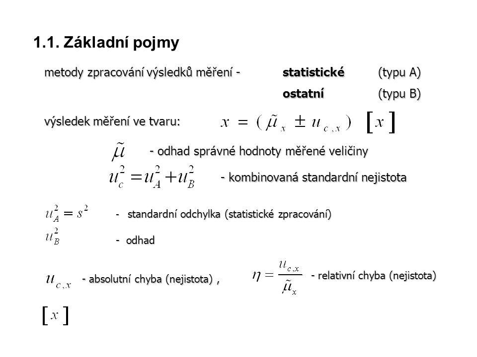 1.1. Základní pojmy metody zpracování výsledků měření - statistické (typu A) ostatní (typu B) - kombinovaná standardní nejistota - standardní odchylka