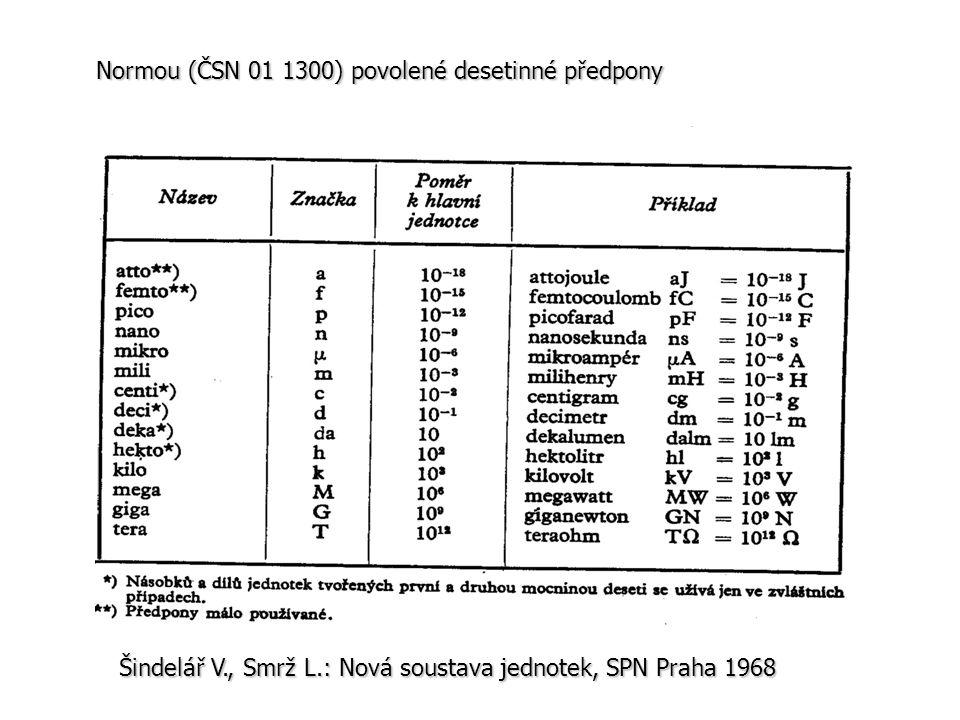 Normou (ČSN 01 1300) povolené desetinné předpony Šindelář V., Smrž L.: Nová soustava jednotek, SPN Praha 1968
