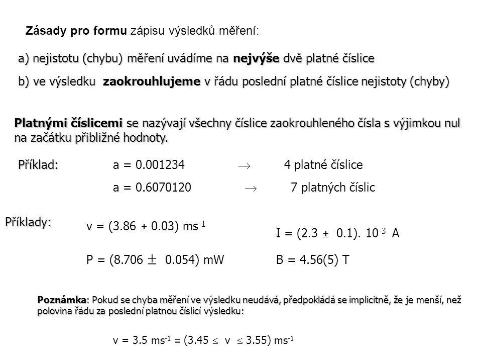 Zásady pro formu zápisu výsledků měření: Příklady: a) nejistotu (chybu) měření uvádíme na nejvýše dvě platné číslice P = (8.706  0.054) mW B = 4.56(5