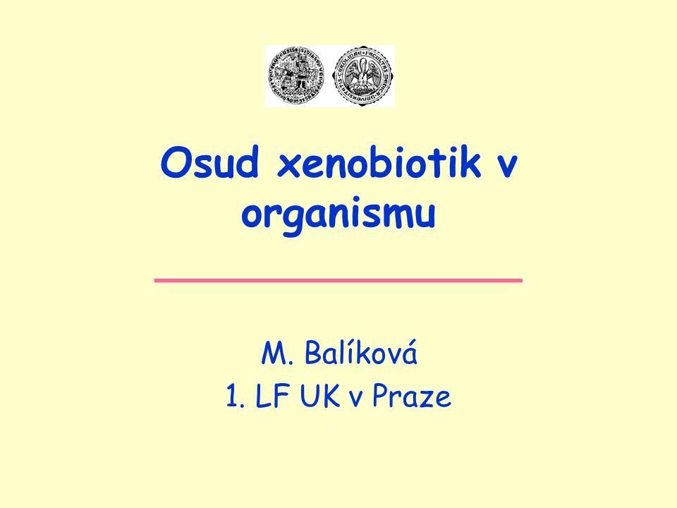 Osud xenobiotik v organismu ______________ M. Balíková 1. LF UK v Praze