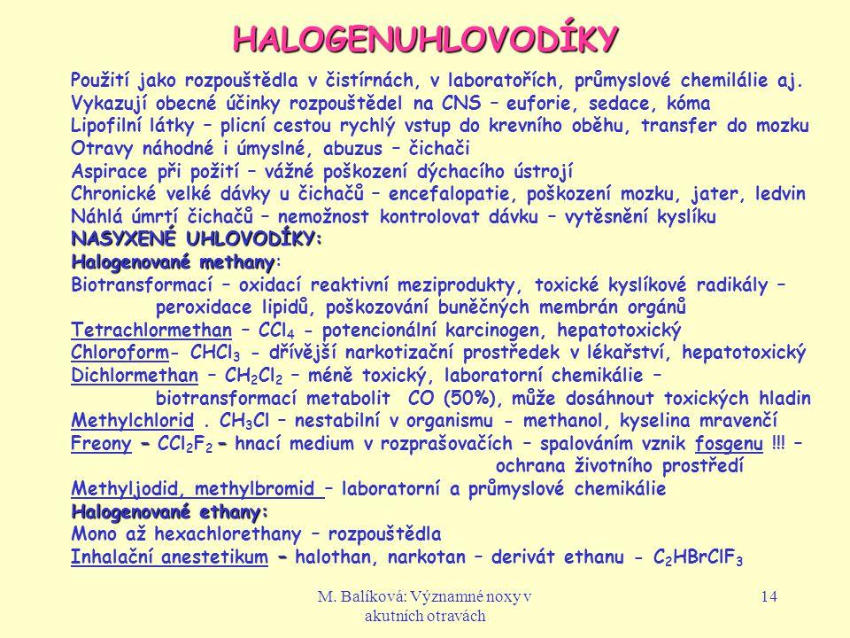 M. Balíková: Významné noxy v akutních otravách 14 HALOGENUHLOVODÍKY Použití jako rozpouštědla v čistírnách, v laboratořích, průmyslové chemilálie aj.