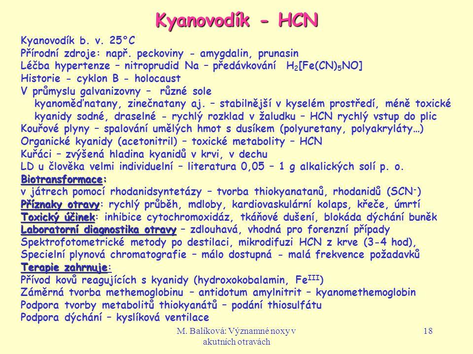 M.Balíková: Významné noxy v akutních otravách 18 Kyanovodík - HCN Kyanovodík b.