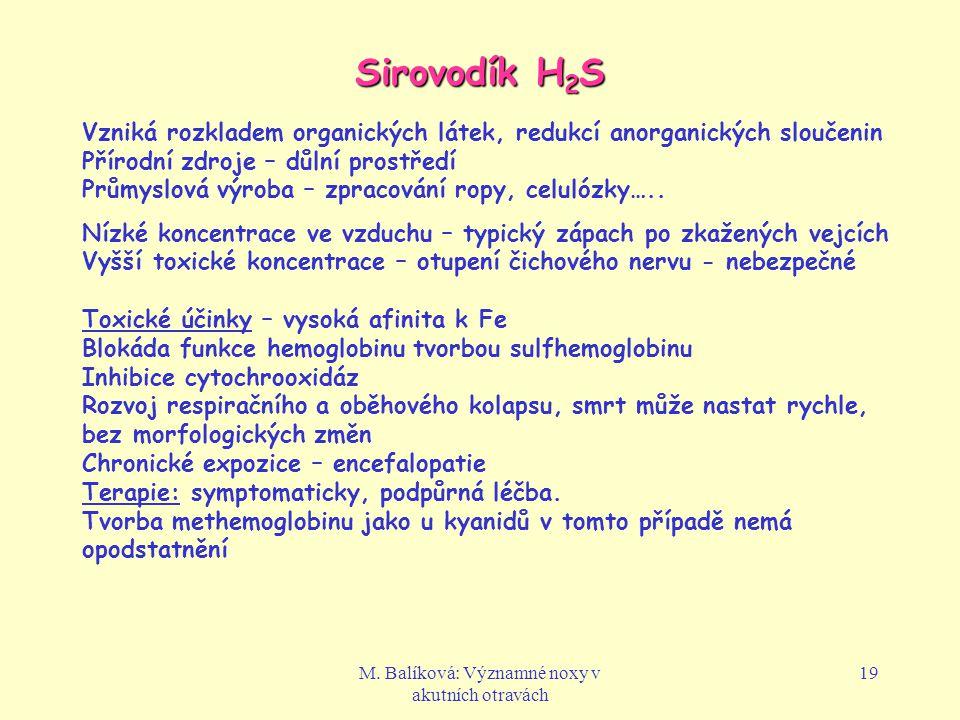 M. Balíková: Významné noxy v akutních otravách 19 Sirovodík H 2 S Vzniká rozkladem organických látek, redukcí anorganických sloučenin Přírodní zdroje