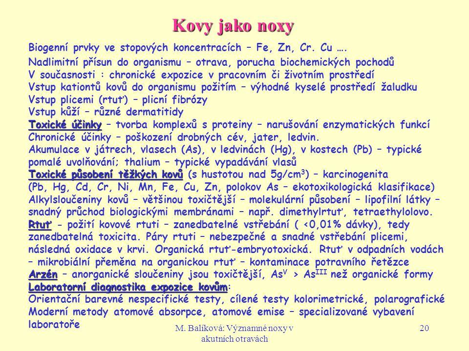 M. Balíková: Významné noxy v akutních otravách 20 Kovy jako noxy Biogenní prvky ve stopových koncentracích – Fe, Zn, Cr. Cu …. Nadlimitní přísun do or