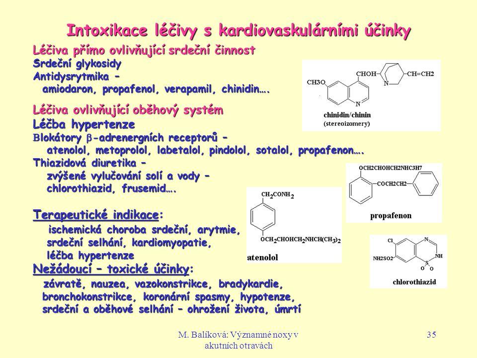 M. Balíková: Významné noxy v akutních otravách 35 Intoxikace léčivy s kardiovaskulárními účinky Léčiva přímo ovlivňující srdeční činnost Srdeční glyko
