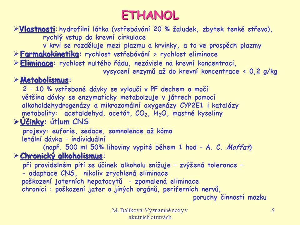 M. Balíková: Významné noxy v akutních otravách 5 ETHANOL Vlastnosti:  Vlastnosti: hydrofilní látka (vstřebávání 20 % žaludek, zbytek tenké střevo), r