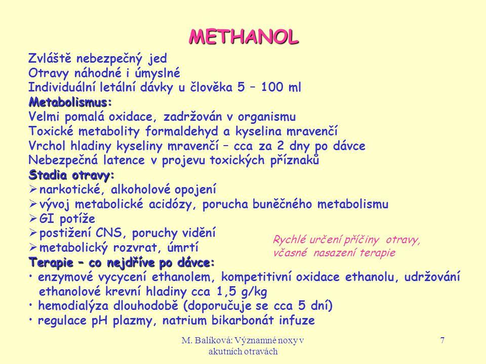 M. Balíková: Významné noxy v akutních otravách 7 METHANOL Zvláště nebezpečný jed Otravy náhodné i úmyslné Individuální letální dávky u člověka 5 – 100