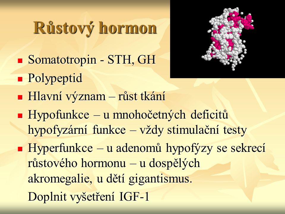 Růstový hormon Somatotropin - STH, GH Somatotropin - STH, GH Polypeptid Polypeptid Hlavní význam – růst tkání Hlavní význam – růst tkání Hypofunkce –