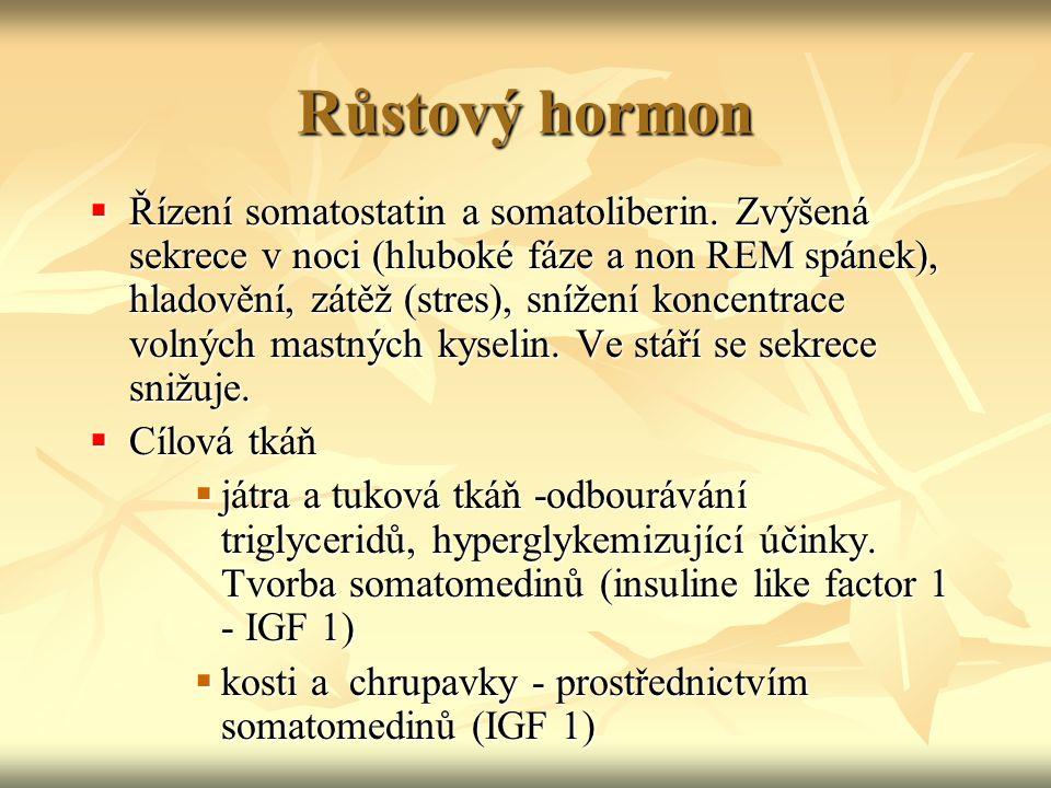 Růstový hormon  Řízení somatostatin a somatoliberin. Zvýšená sekrece v noci (hluboké fáze a non REM spánek), hladovění, zátěž (stres), snížení koncen