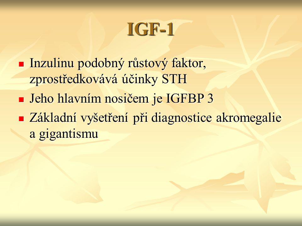 IGF-1 Inzulinu podobný růstový faktor, zprostředkovává účinky STH Inzulinu podobný růstový faktor, zprostředkovává účinky STH Jeho hlavním nosičem je