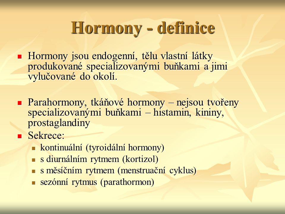 Hormony - definice Hormony jsou endogenní, tělu vlastní látky produkované specializovanými buňkami a jimi vylučované do okolí. Hormony jsou endogenní,