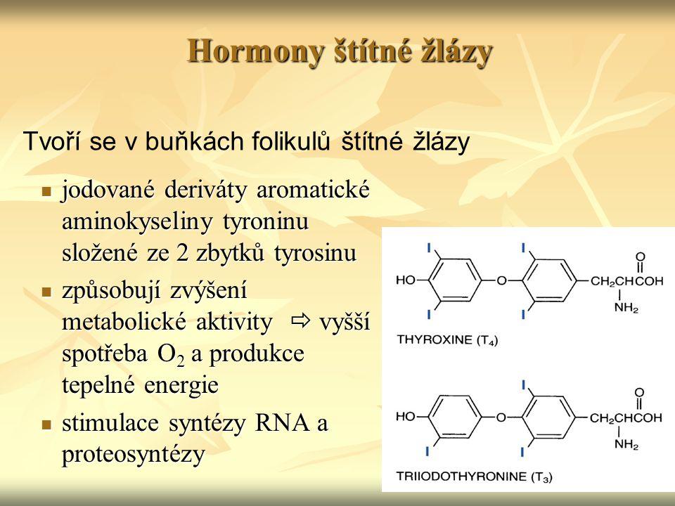 Hormony štítné žlázy jodované deriváty aromatické aminokyseliny tyroninu složené ze 2 zbytků tyrosinu jodované deriváty aromatické aminokyseliny tyron