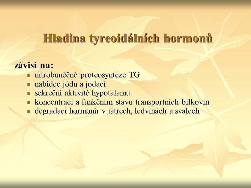 Hladina tyreoidálních hormonů závisí na: nitrobuněčné proteosyntéze TG nitrobuněčné proteosyntéze TG nabídce jódu a jodaci nabídce jódu a jodaci sekre