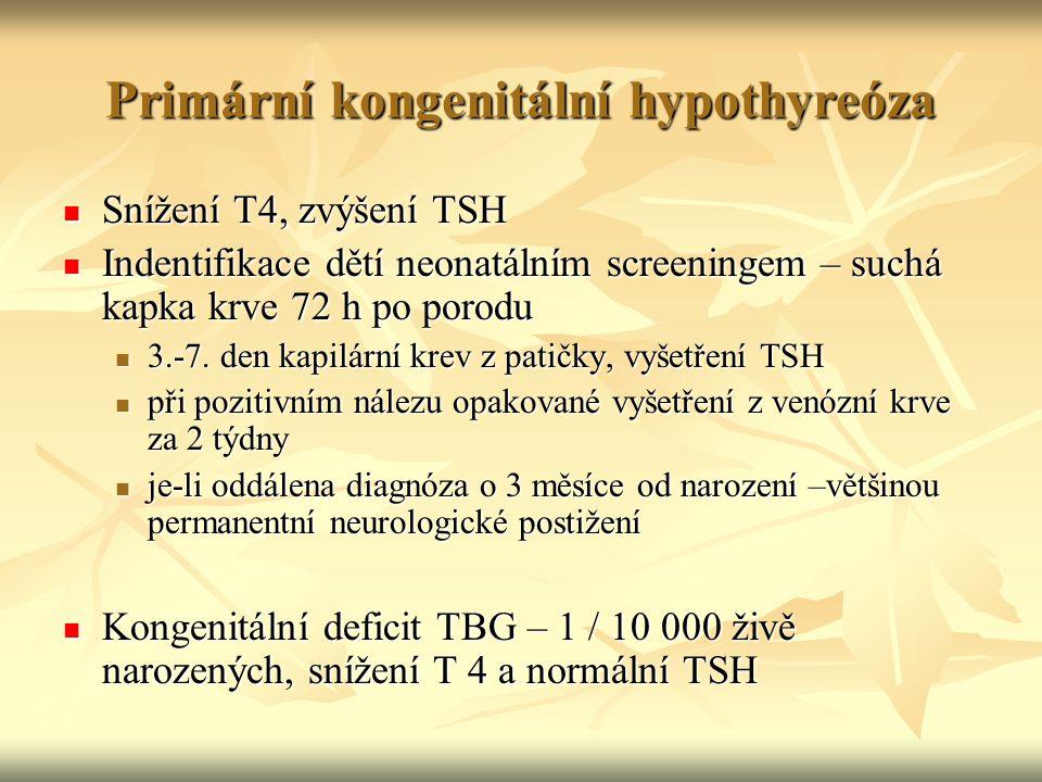 Primární kongenitální hypothyreóza Snížení T4, zvýšení TSH Snížení T4, zvýšení TSH Indentifikace dětí neonatálním screeningem – suchá kapka krve 72 h