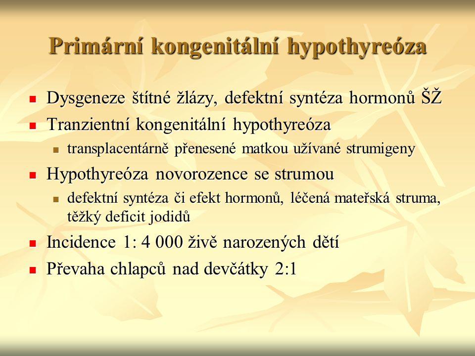 Primární kongenitální hypothyreóza Dysgeneze štítné žlázy, defektní syntéza hormonů ŠŽ Dysgeneze štítné žlázy, defektní syntéza hormonů ŠŽ Tranzientní