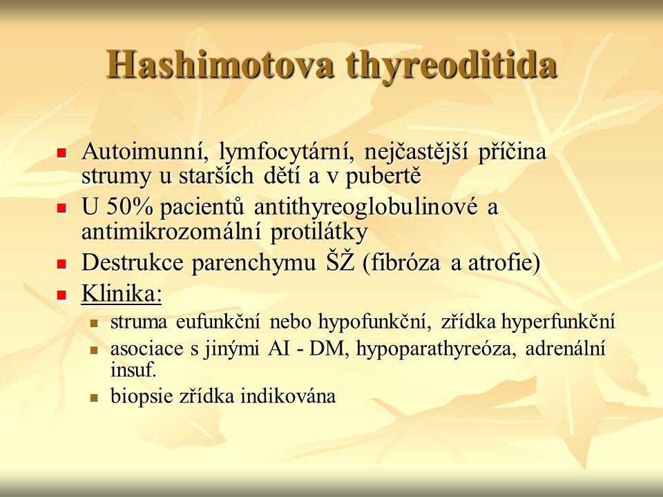 Hashimotova thyreoditida Autoimunní, lymfocytární, nejčastější příčina strumy u starších dětí a v pubertě Autoimunní, lymfocytární, nejčastější příčin