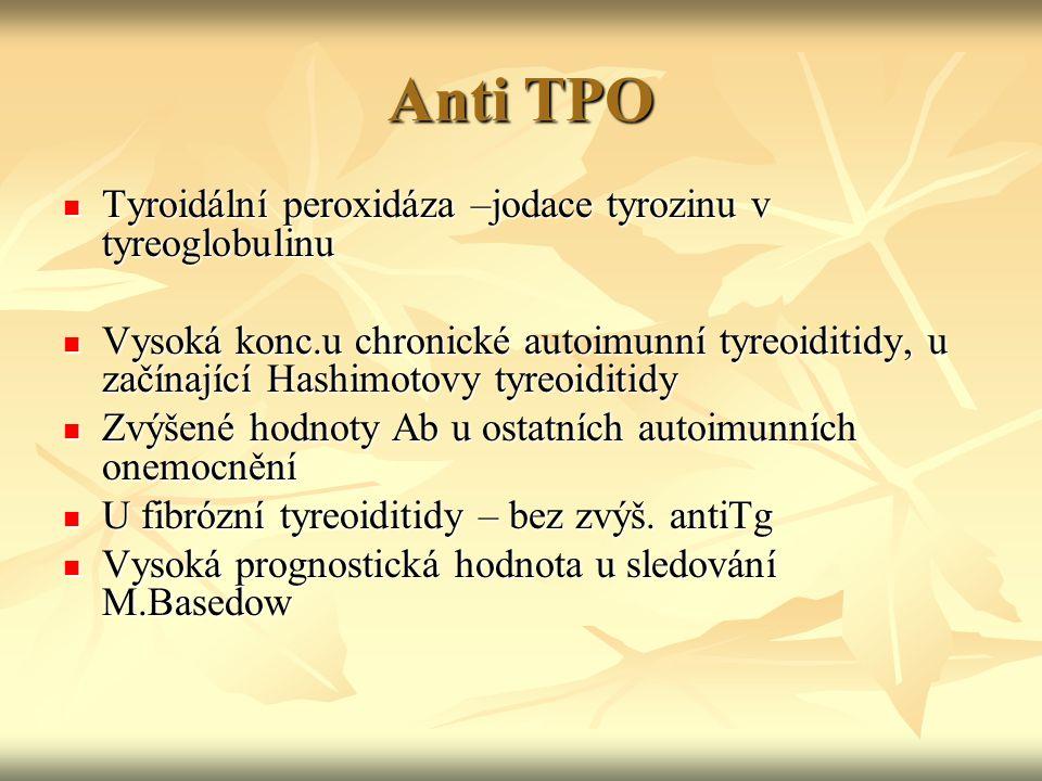 Anti TPO Tyroidální peroxidáza –jodace tyrozinu v tyreoglobulinu Tyroidální peroxidáza –jodace tyrozinu v tyreoglobulinu Vysoká konc.u chronické autoi