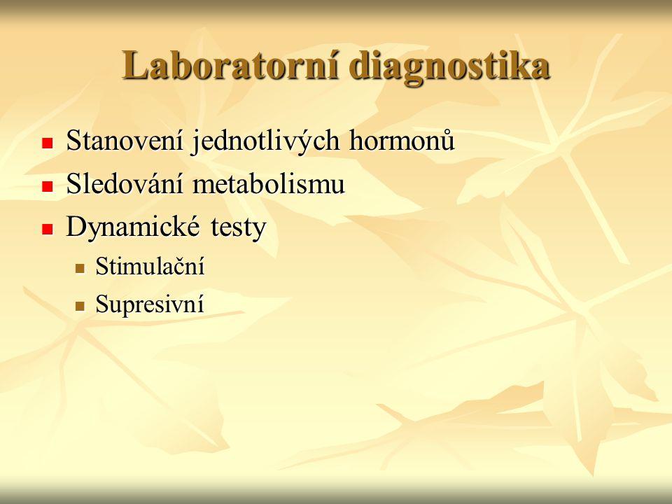Vyšetřování poruch funkce ŠŽ osa hypotalamus – hypofýza – štítná žláza neporušena  vyšetření TSH - normální TSH vylučuje poruchu štítné žlázy osa hypotalamus – hypofýza – štítná žláza neporušena  vyšetření TSH - normální TSH vylučuje poruchu štítné žlázy při poruše  FT4 nebo FT3 při poruše  FT4 nebo FT3 hypertyreóza: TSH < 0,1 mU/l a obvykle FT3 a FT4  hypertyreóza: TSH < 0,1 mU/l a obvykle FT3 a FT4  T3 - tyreotoxikóza:  jen FT3 T3 - tyreotoxikóza:  jen FT3 hypotyreóza: TSH > 20 mU/l a FT4  hypotyreóza: TSH > 20 mU/l a FT4 