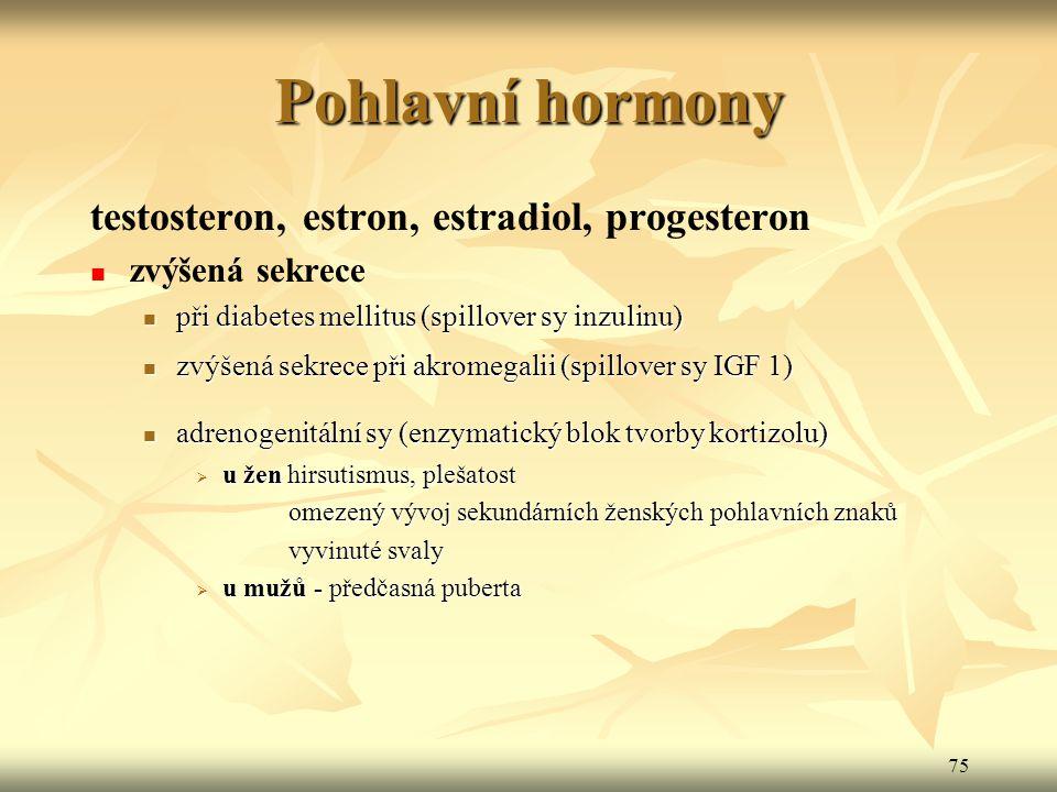 75 Pohlavní hormony testosteron, estron, estradiol, progesteron zvýšená sekrece při diabetes mellitus (spillover sy inzulinu) při diabetes mellitus (s