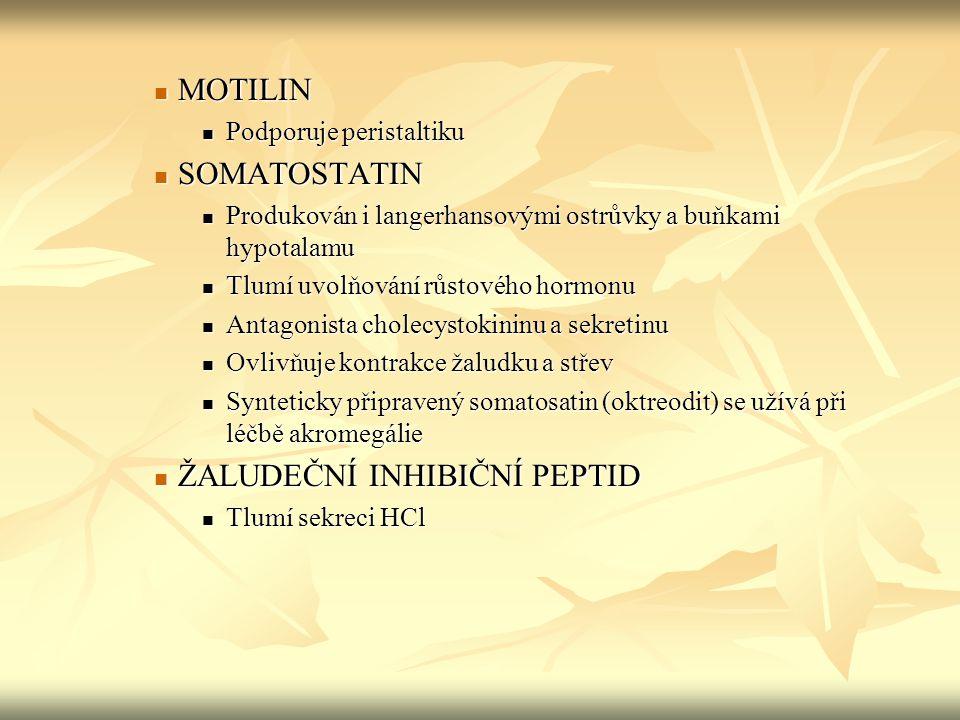 MOTILIN MOTILIN Podporuje peristaltiku Podporuje peristaltiku SOMATOSTATIN SOMATOSTATIN Produkován i langerhansovými ostrůvky a buňkami hypotalamu Pro