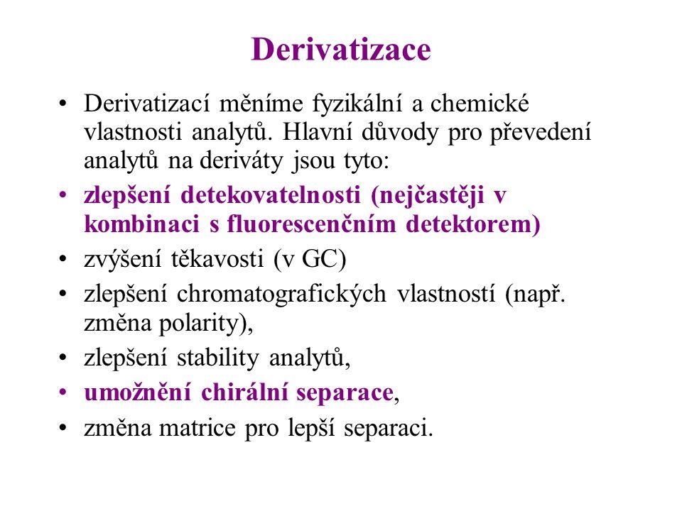 Derivatizace Derivatizací měníme fyzikální a chemické vlastnosti analytů. Hlavní důvody pro převedení analytů na deriváty jsou tyto: zlepšení detekova