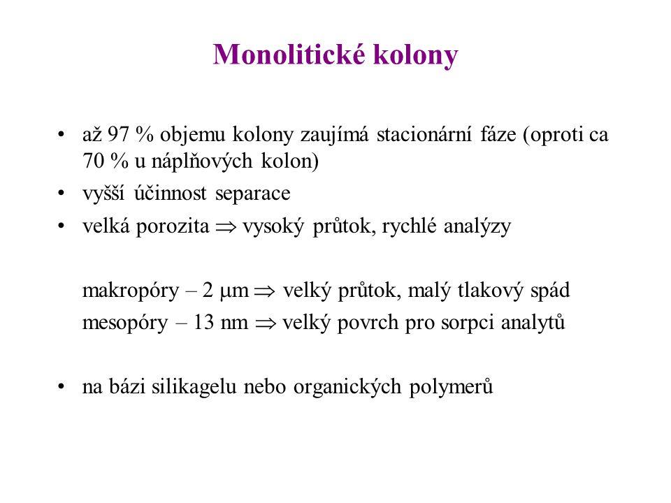 Monolitické kolony až 97 % objemu kolony zaujímá stacionární fáze (oproti ca 70 % u náplňových kolon) vyšší účinnost separace velká porozita  vysoký