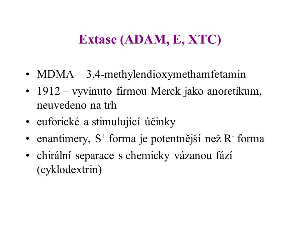 Extase (ADAM, E, XTC) MDMA – 3,4-methylendioxymethamfetamin 1912 – vyvinuto firmou Merck jako anoretikum, neuvedeno na trh euforické a stimulující úči