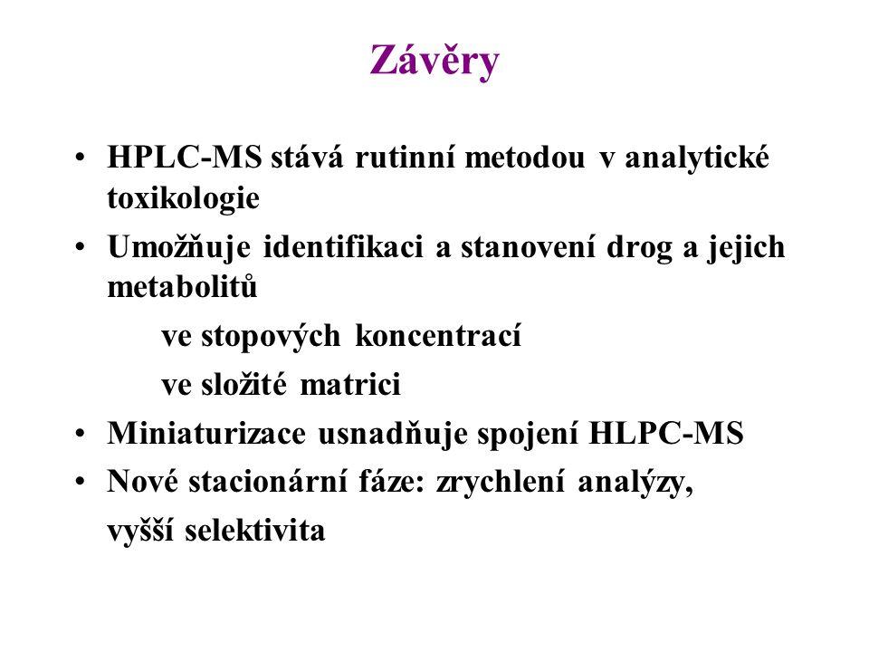 Závěry HPLC-MS stává rutinní metodou v analytické toxikologie Umožňuje identifikaci a stanovení drog a jejich metabolitů ve stopových koncentrací ve s