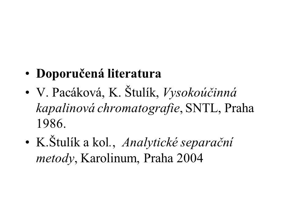 Doporučená literatura V. Pacáková, K. Štulík, Vysokoúčinná kapalinová chromatografie, SNTL, Praha 1986. K.Štulík a kol., Analytické separační metody,