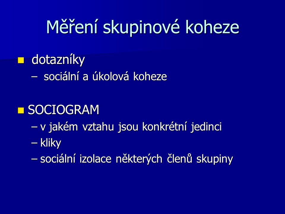 Měření skupinové koheze dotazníky dotazníky – sociální a úkolová koheze SOCIOGRAM SOCIOGRAM –v jakém vztahu jsou konkrétní jedinci –kliky –sociální izolace některých členů skupiny