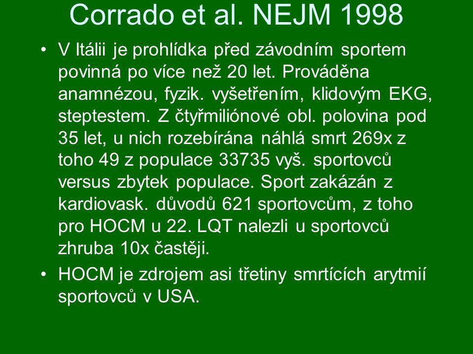 Corrado et al.NEJM 1998 V Itálii je prohlídka před závodním sportem povinná po více než 20 let.