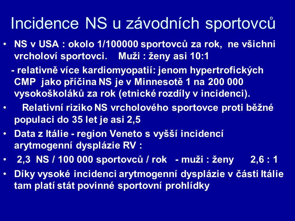 Incidence NS u závodních sportovců NS v USA : okolo 1/100000 sportovců za rok, ne všichni vrcholoví sportovci.