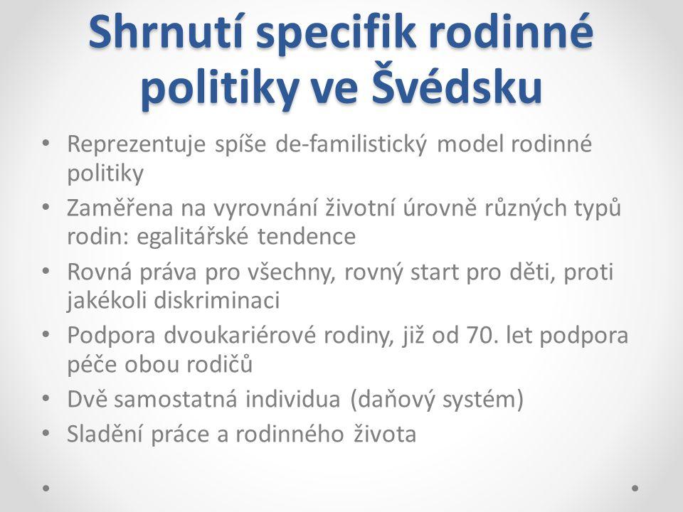 Shrnutí specifik rodinné politiky ve Švédsku Reprezentuje spíše de-familistický model rodinné politiky Zaměřena na vyrovnání životní úrovně různých ty