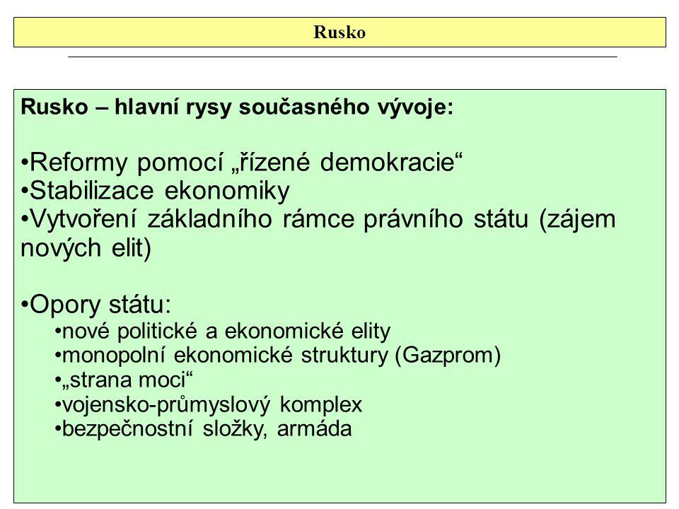 """Rusko Rusko – hlavní rysy současného vývoje: Reformy pomocí """"řízené demokracie"""" Stabilizace ekonomiky Vytvoření základního rámce právního státu (zájem"""
