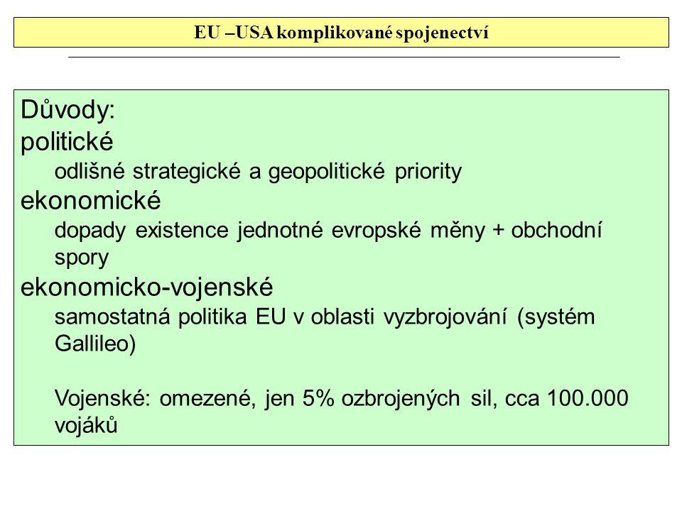 EU –USA komplikované spojenectví Důvody: politické odlišné strategické a geopolitické priority ekonomické dopady existence jednotné evropské měny + obchodní spory ekonomicko-vojenské samostatná politika EU v oblasti vyzbrojování (systém Gallileo) Vojenské: omezené, jen 5% ozbrojených sil, cca 100.000 vojáků