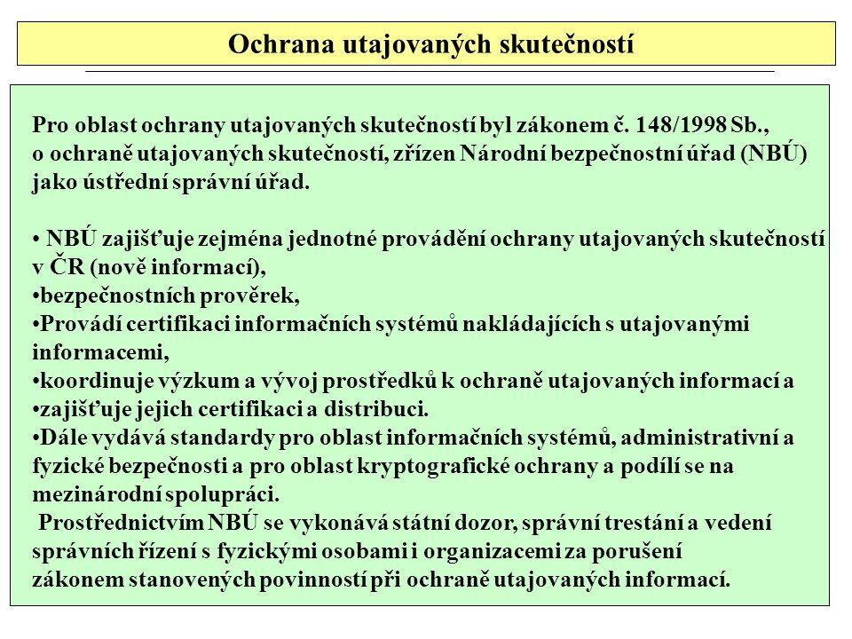 Ochrana utajovaných skutečností Pro oblast ochrany utajovaných skutečností byl zákonem č. 148/1998 Sb., o ochraně utajovaných skutečností, zřízen Náro