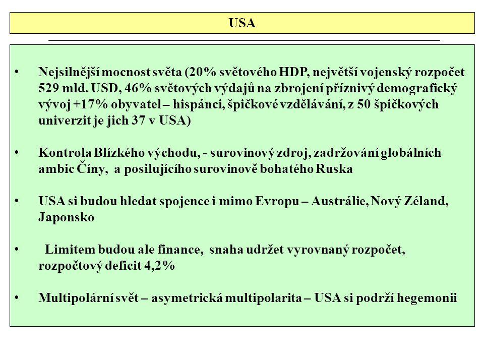 USA Nejsilnější mocnost světa (20% světového HDP, největší vojenský rozpočet 529 mld. USD, 46% světových výdajů na zbrojení příznivý demografický vývo