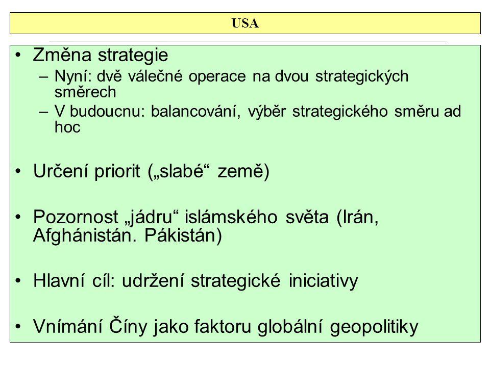 """USA Změna strategie –Nyní: dvě válečné operace na dvou strategických směrech –V budoucnu: balancování, výběr strategického směru ad hoc Určení priorit (""""slabé země) Pozornost """"jádru islámského světa (Irán, Afghánistán."""