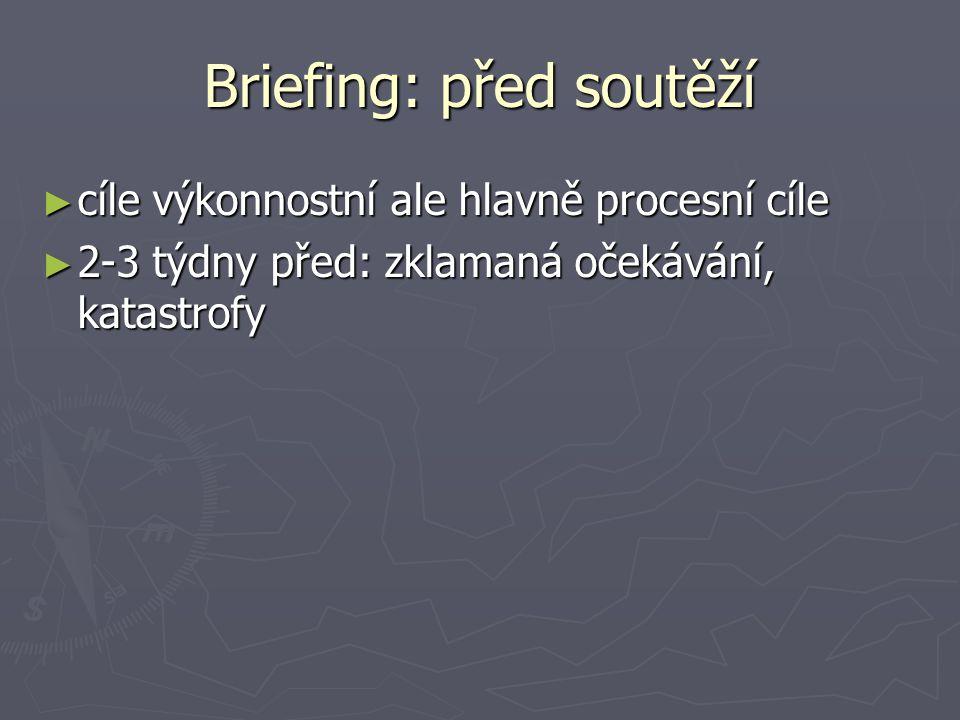 Briefing: před soutěží ► cíle výkonnostní ale hlavně procesní cíle ► 2-3 týdny před: zklamaná očekávání, katastrofy