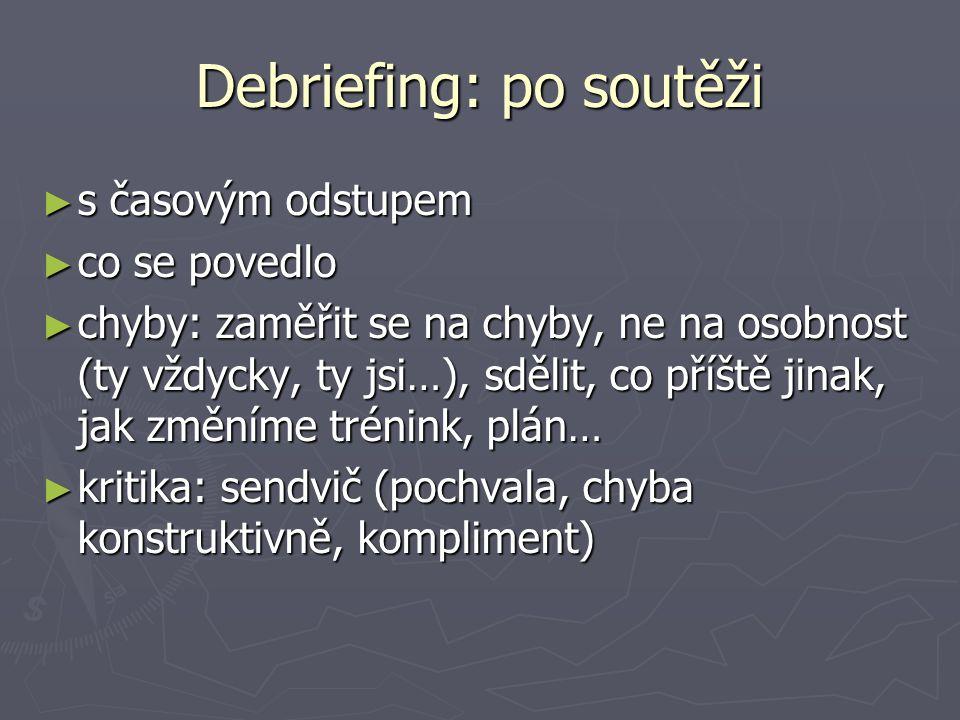 Debriefing: po soutěži ► s časovým odstupem ► co se povedlo ► chyby: zaměřit se na chyby, ne na osobnost (ty vždycky, ty jsi…), sdělit, co příště jina