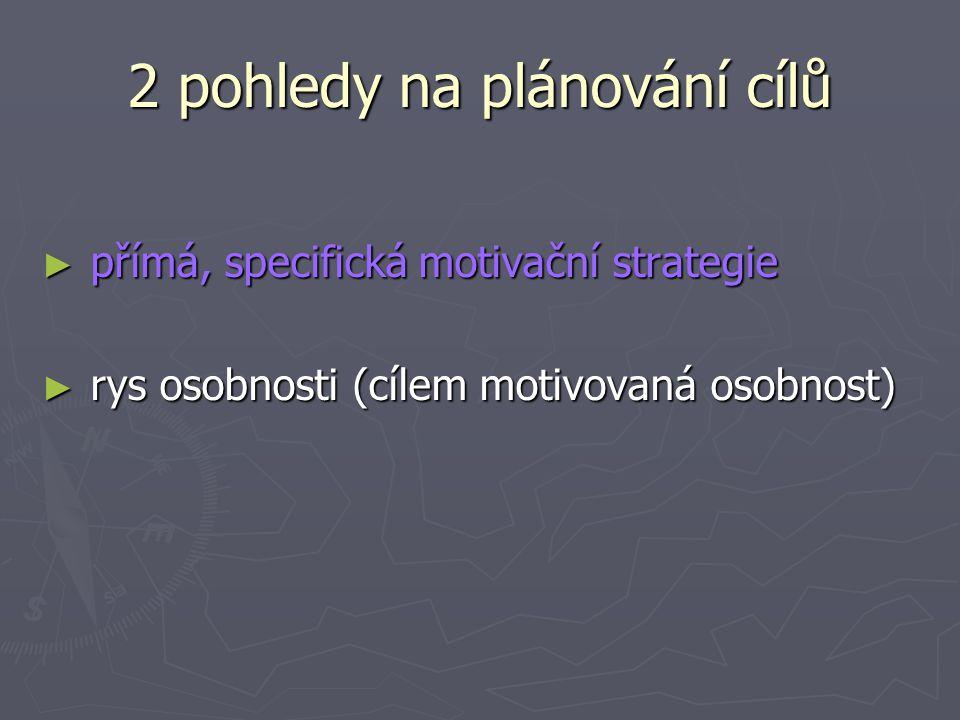 2 pohledy na plánování cílů ► přímá, specifická motivační strategie ► rys osobnosti (cílem motivovaná osobnost)