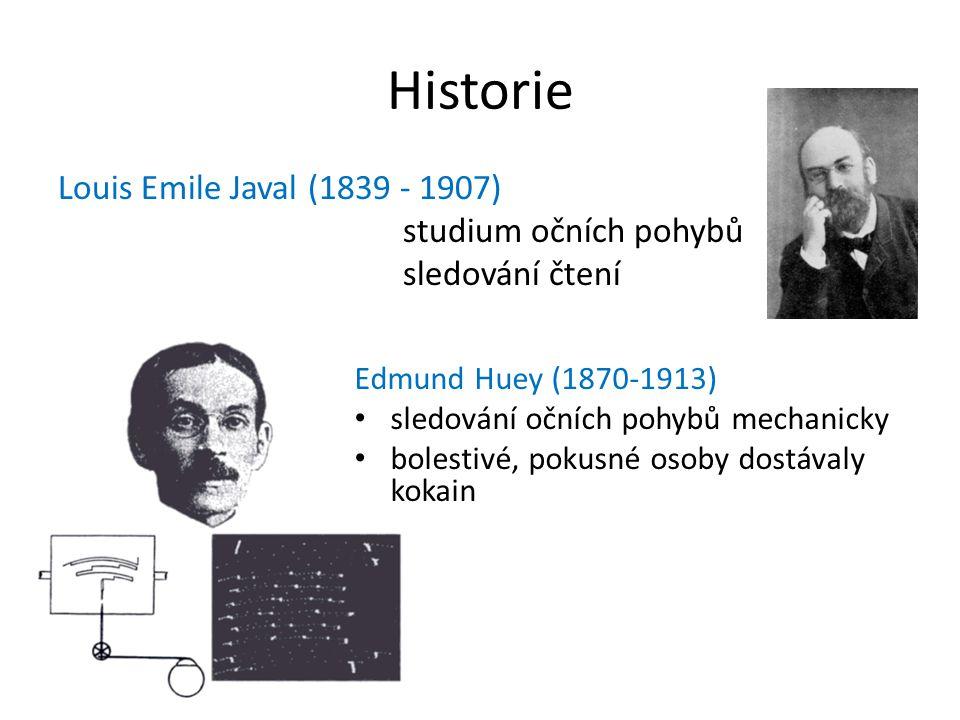 Historie Louis Emile Javal (1839 - 1907) studium očních pohybů sledování čtení Edmund Huey (1870-1913) sledování očních pohybů mechanicky bolestivé, pokusné osoby dostávaly kokain