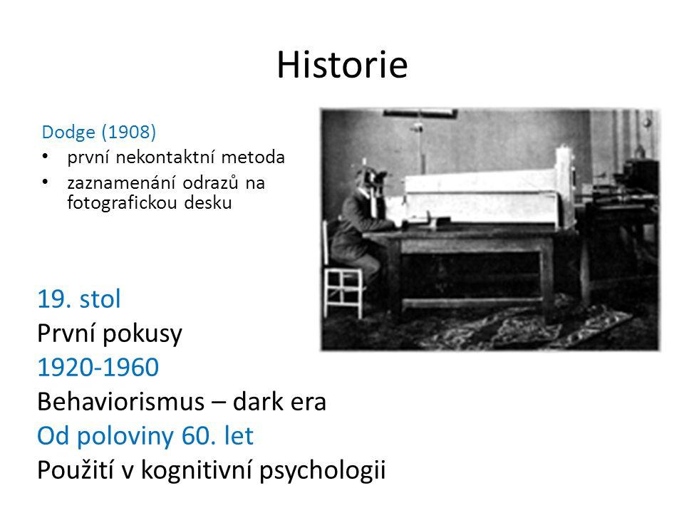 Historie Dodge (1908) první nekontaktní metoda zaznamenání odrazů na fotografickou desku 19. stol První pokusy 1920-1960 Behaviorismus – dark era Od p