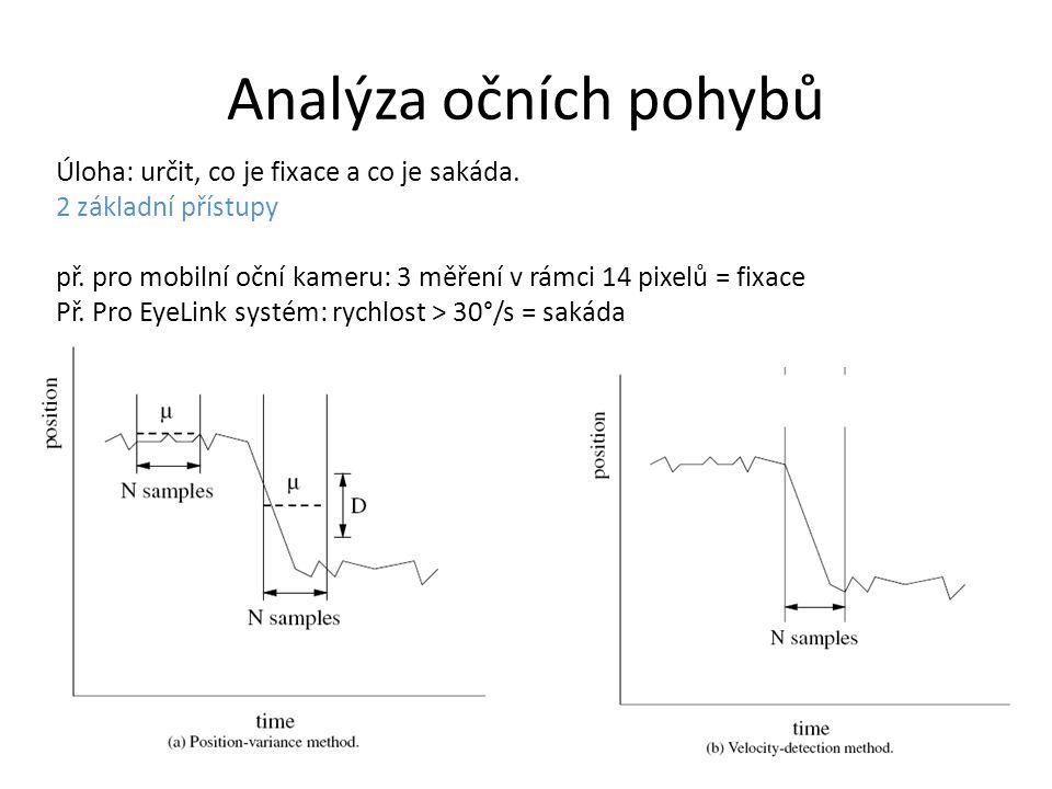 Analýza očních pohybů Úloha: určit, co je fixace a co je sakáda. 2 základní přístupy př. pro mobilní oční kameru: 3 měření v rámci 14 pixelů = fixace