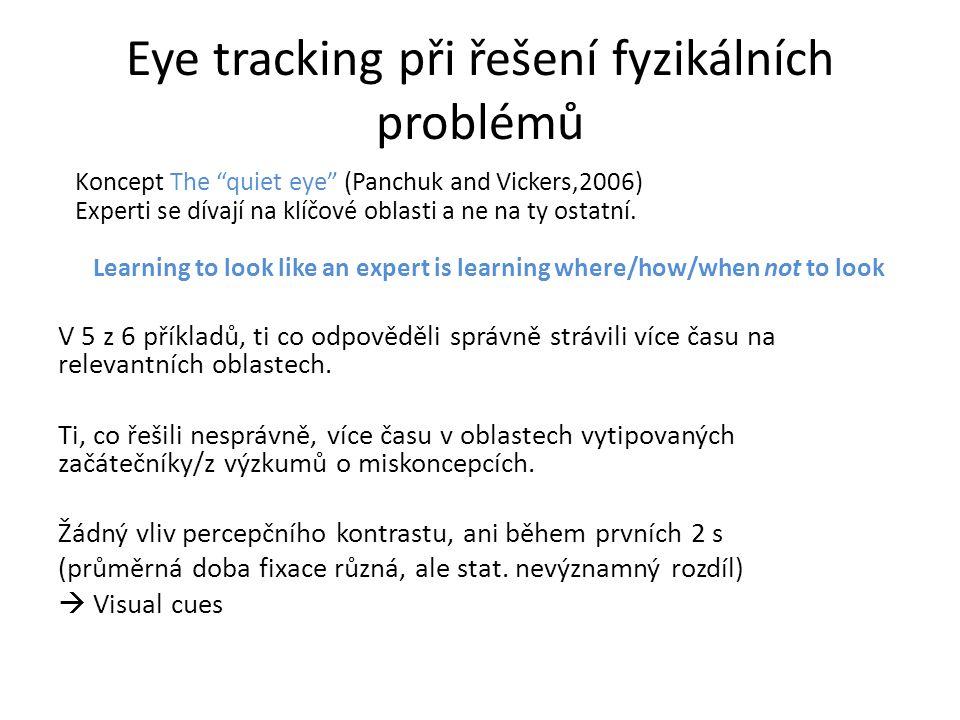 """Eye tracking při řešení fyzikálních problémů Koncept The """"quiet eye"""" (Panchuk and Vickers,2006) Experti se dívají na klíčové oblasti a ne na ty ostatn"""