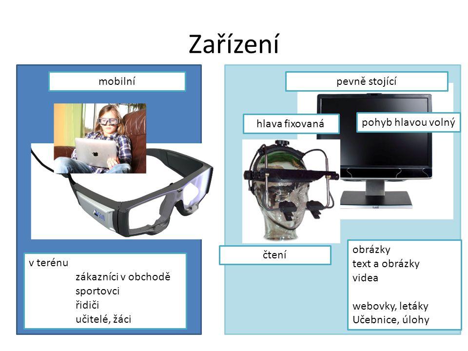 Zařízení SMI http://www.smivision.com/ http://www.youtube.com/user/smieyetracking Dobré mobilní brýle Tobii http://www.tobii.com/ User friendly, zaměření na marketing ASL http://www.asleyetracking.com/Site/ EyeLink http://www.sr-research.com/ Pro vědecké účely, přesný