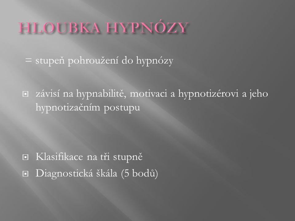 = stupeň pohroužení do hypnózy  závisí na hypnabilitě, motivaci a hypnotizérovi a jeho hypnotizačním postupu  Klasifikace na tři stupně  Diagnostic