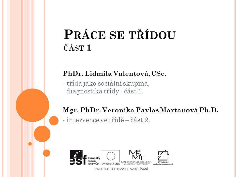 PhDr. Lidmila Valentová, CSc. - třída jako sociální skupina, diagnostika třídy - část 1. Mgr. PhDr. Veronika Pavlas Martanová Ph.D. - intervence ve tř